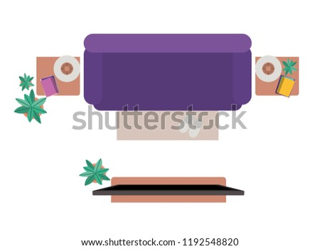 Aerial View Living Room Isolated Icon Stock Vector Royalty Free