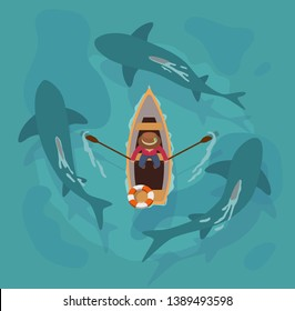 An aerial view of a man in a boat rowing in between 3 circling sharks.