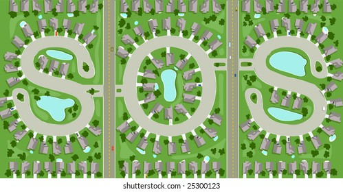 """Aerial view of neighborhood streets that spells out """"SOS"""""""