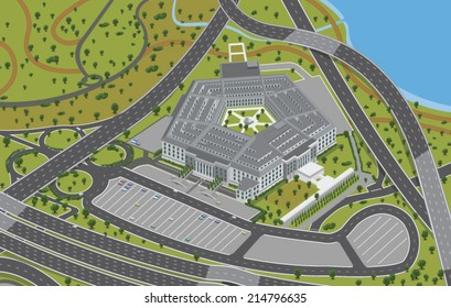 Aerial View of the Pentagon - Vector clip art illustration