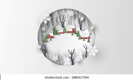 Aerial view of red village in the middle of snowy forest on Christmas. Merry Christmas. Christmas landscape. paper cut and craft style. vector, illustration.