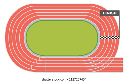 Aerial view of a running track illustration