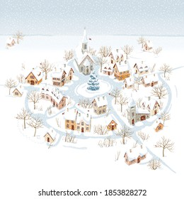 Aerial view of a small snow-covered  town  and winter rural landscape. Vector Image can be used as Christmas card, banners or posters, sales and other seasonal events.