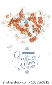 Aerial view of a small town under the snowfall and winter rural landscape. Vector Christmas greeting card with lettering design template.