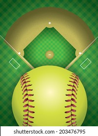 An aerial view of a softball field and ball. Vector EPS 10 contains transparencies.