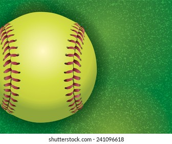 An aerial view of a softball on a realistic textured field illustration. Vector EPS 10. EPS file contains transparencies.