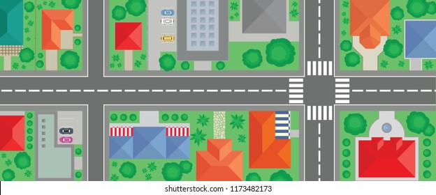 Aerial view of steet illustration. Town suburbs and road map. Top view buildings,houses, trees, cars and roads vectors.