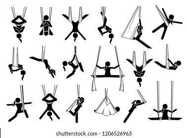 Aerial yoga icons. Illustrations depict a woman performing anti gravity yoga exercise in different poses and positions with a hammock. The techniques are for beginners and experts.