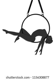 Aerial yoga - silhouette - woman lies on a hoop - isolated on white background -  vector
