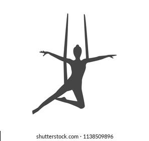 Aerial yoga vector illustration. Yoga icon.  Fly yoga icon.  Yoga pose icon.