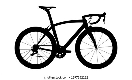 Aero road bike with deep-section wheels and rim brakes - silhouette. Vector illustration.