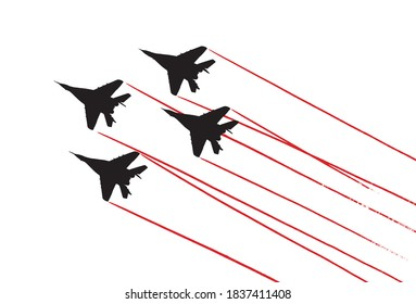 Aerobatic team with fighter aircrafts contrails. Vector silhouette