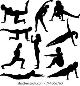 aerobics girl collection - vector