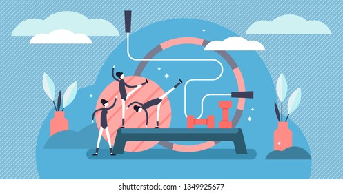 Aerobics vector illustration. Flat tiny gymnastics sports persons concept. Athletic workout lifestyle for flexible figure and healthy exercise balance. Acrobatic practice for good shape and wellness.