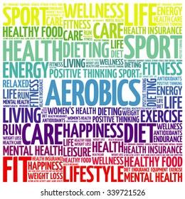 Aerobics word cloud background, health concept