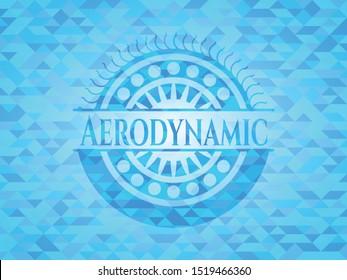 Aerodynamic light blue emblem with mosaic background