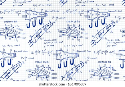 Aerodynamics. Stream of air. Physical equations and formulas on workbook page. Retro vector hand-drawn seamless pattern.