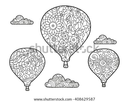 Aeronautic Balloon Coloring Book Adults Vector Stock Vector Royalty