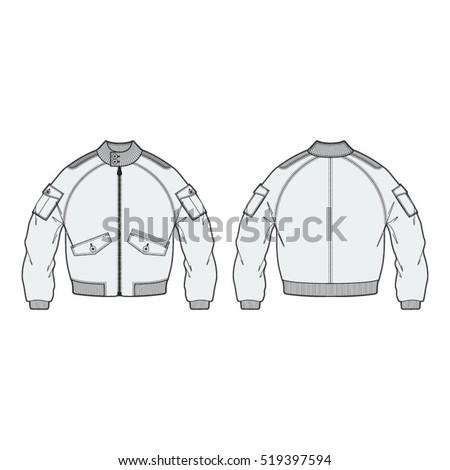 aeronautical bomber jacket template vector de stock libre de