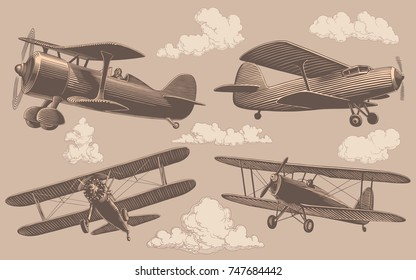 Aeronautics. Design set. Hand drawn engraving. Vector vintage illustration. Isolated on light background. 8 EPS