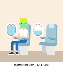 Aerophobia concept. Panic in the plane. Fear of flying. Young blond boy with green face frightened by flight / flat vector illustration