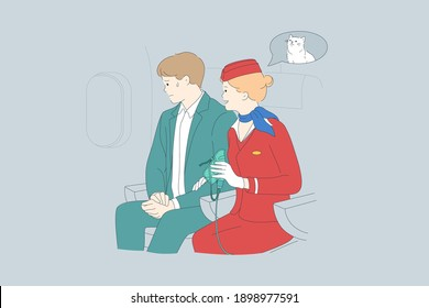 Aerophobia and psychological trouble in plane concept. Young scared man cartoon character sitting looking at window during flight with stewardess meaning his blood pressure vector illustration