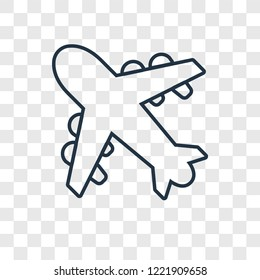 Aeroplane concept vector linear icon isolated on transparent background, Aeroplane concept transparency concept in outline style
