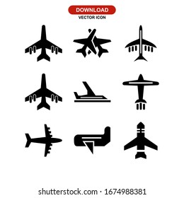 aeroplane icon or logo isolated sign symbol vector illustration - Collection of high quality black style vector icons