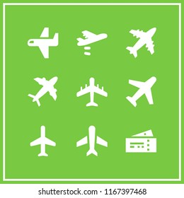 aeroplane icon. This set with airplane, airplane silhouette, plane diagonal silhouette and plane tickets vector icons for mobile and web