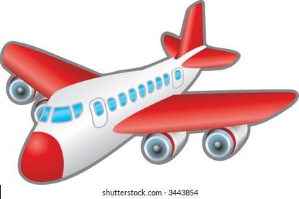 Aeroplane.  Children's illustration of a jumbo jet aeroplane. No meshes used.