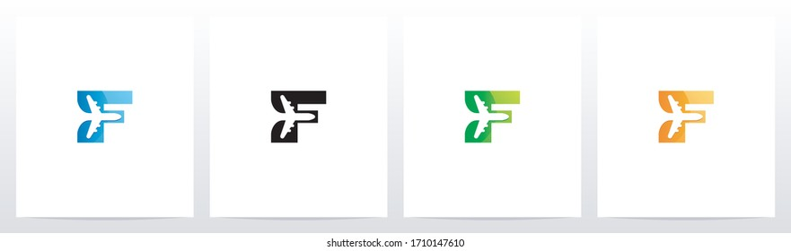 Aeroplane On Letter Logo Design F