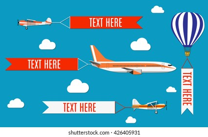 Aeroplane, planes, biplane and hot air balloon. Set of colorful flat air transports with cloud. Vector illustration