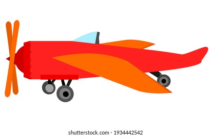 Aeroplane propeller flight vector set Red