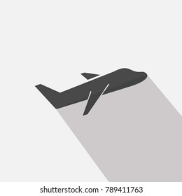 aeroplane vector icon flying for transportation gray with flat shadow eps10 jet