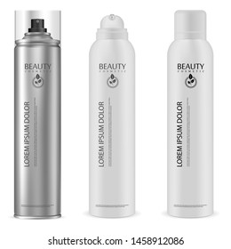 Aerosol Can. Aluminium Spray Bottle Mock Up. cosmetic Hairspray Container. Aluminum Cylinder Tin with Dispenser for Shave Cream, Gel, Paint, Antiperspirant. 3d Packaging Render