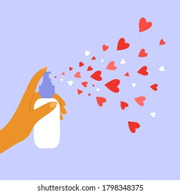 Aerosol with hearts. Giving and sharing love concept. Human hand holding dispenser and spraying with red heart shapes. Health, body or beauty care. Charity, donation or voluntary vector illustration.
