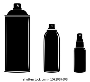 Aerosol spray can, cosmetic bottle set icon vector