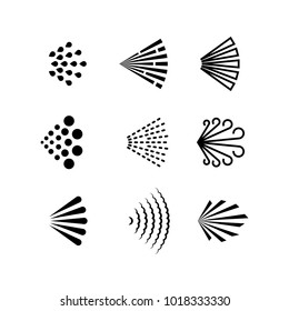 Aerosol spray vector black icons. Illustration of spray deodorant effect, hairspray direction