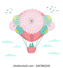 A aerostat balloon flies in the sky among clouds and birds. The ball is decorated with flowers. In the basket there are 2 people, a couple in love. Vector color illustration.