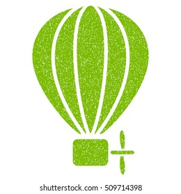 Aerostat Balloon grainy textured icon for overlay watermark stamps. Flat symbol with scratched texture. Dotted vector eco green ink rubber seal stamp with grunge design on a white background.