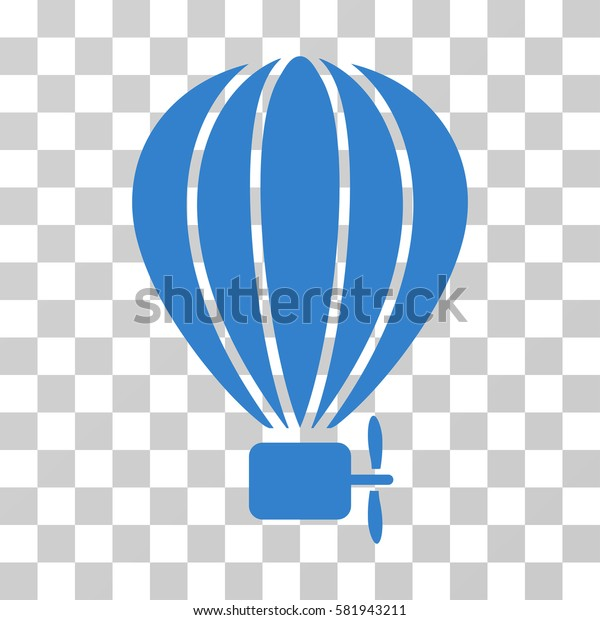 Aerostat Balloon vector pictogram. Illustration style is a flat iconic cobalt symbol on a transparent background.