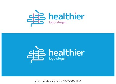 Aesculapius icon or logo in modern line style. Medical logo and healthcare logo vector illustration.
