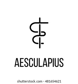 Aesculapius icon or logo in modern line style. High quality black outline pictogram for web site design and mobile apps. Vector illustration on a white background.