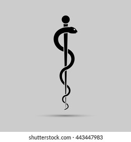 Aesculapius medical symbol or symbol featuring a snake around a rod. Vector illustration