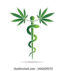 Aesculapius vector abstract illustration created using snakes and Cannabis marijuana  green leaves, Caduceus symbol