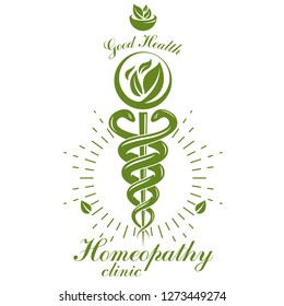Aesculapius vector abstract logo, Caduceus symbol composed with mortar and pestle for use in medical treatment.