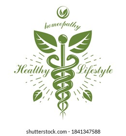 Aesculapius vector abstract logotype created using snakes and green leaves, Caduceus symbol. Healthy lifestyle is strong heart.
