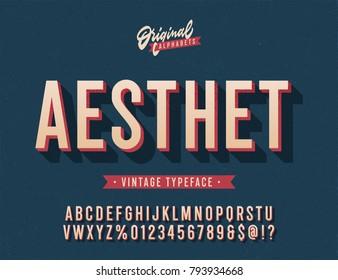 """Aesthet"" Vintage 3D Alphabet. Retro Typeface. Vector Font Illustration"