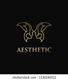 Aesthetic business logo women face and butterfly concept design template.