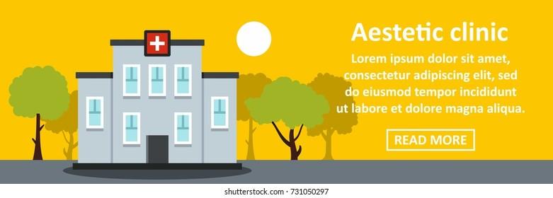 Aesthetic clinic banner horizontal concept. Flat illustration of aesthetic clinic banner horizontal vector concept for web design